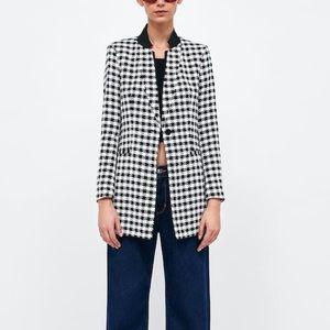 Zara Houndstooth Frock Coat